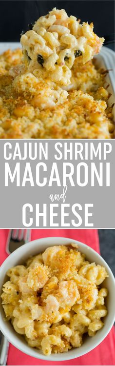 Cajun Shrimp Macaroni and Cheese - A favorite baked macaroni and cheese recipe spiced up with shrimp cooked in Cajun seasoning, as well as a sauce that includes more Cajun seasoning and pepper jack cheese. A big hit with anyone who loves lots of flavor! via @browneyedbaker