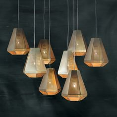 Fasceted pendant lamps with metal mesh surfaces. Rough & Smooth collection by Tom Dixon