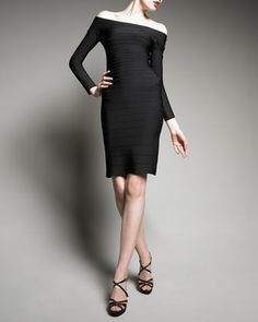 Tiered Off-the-Shoulder Dress by Herve Leger at Neiman Marcus.