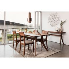 Aurelle Home Cara Solid Wood Mid-Century Dining Table (Dining Chair), Brown Walnut