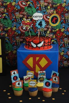 Superhero Birthday Party cake and cupcakes! See more party ideas at CatchMyParty.com!
