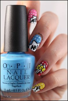 Pop Art Nails Ongles Pop Art, Pop Art Nails, Cool Nail Art, Cute Nails, Pretty Nails, My Nails, Heroes Disney, Nailart, Fb Like