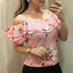 blusas mujer de moda 2019 women's blouse shirt Women Casual Off Shoulder Floral Print Blouse Short Sleeve Loose Top Shirt Tee Trend Fashion, Fashion Outfits, Womens Fashion, Fashion Blouses, Prom Outfits, Ladies Fashion, Style Fashion, Fashion Design, Blouse Styles