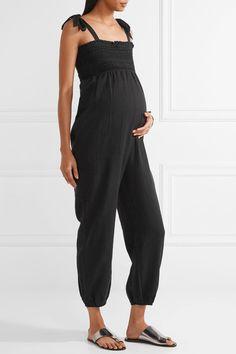 HATCH - Jojo Smocked Cotton-gauze Jumpsuit - Black