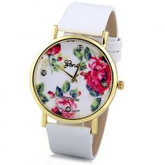 Geneva Luxury Quartz Watch with Diamonds Golden Plate Analog Indicate Leather Watch Band Rose Pattern for Women 4.15