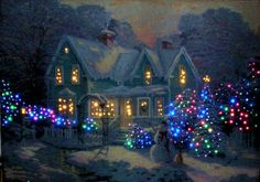 46 Ideas for painting christmas scenes thomas kinkade Christmas Scenes, Noel Christmas, Winter Christmas, Christmas Lights, Vintage Christmas, Thomas Kinkade Art, Thomas Kinkade Christmas, Kinkade Paintings, Oil Paintings