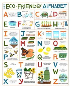 The Eco-Friendly Alphabet Poster *OR* Print - monas.lifestyle - The Eco-Friendly Alphabet Poster *OR* Print - Save Environment, Teacher Discounts, Sustainable Living, Sustainable Design, Sustainable Practices, Sustainable Clothing, Earth Day, Earth Month, Go Green