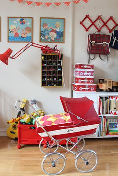 - childhood memories <3  Dolls pram (my kids have it now), the red desk lamp, the little suitcases
