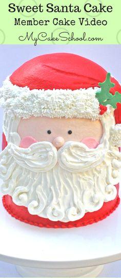 Adorable Buttercream Santa Cake Tutorial by MyCakeSchool.com! (Member Cake Video Section)