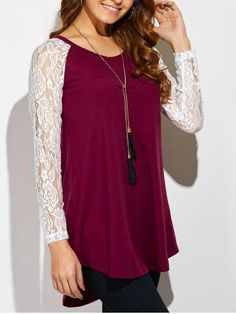 GET $50 NOW | Join RoseGal: Get YOUR $50 NOW!http://www.rosegal.com/t-shirts/lace-sleeve-high-low-hem-838911.html?seid=807197rg838911