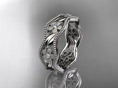 platinum diamond flower wedding ring,engagement ring,wedding band. ADLR 190 on Etsy, $1,485.00