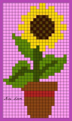 X sunflower coaster or trivet (i always measure wide by high) Tiny Cross Stitch, Cross Stitch Cards, Cross Stitch Flowers, Cross Stitch Designs, Cross Stitching, Cross Stitch Patterns, Crochet Pixel, Modele Pixel, Graph Paper Art
