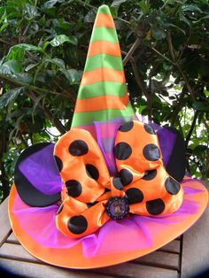 Disney Parks MINNIE MOUSE WITCH HAT Lg BOW Orange Green Halloween NEW #Disney...$39.50