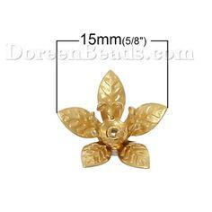 Латунь Шапочки Для Бусин Цветы Латунный Цвет (для 6мм бусины) 15мм x 14мм, 20 ШТ