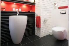 Znalezione obrazy dla zapytania biała cegła w łazience