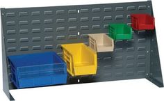 """Lovered Panel With Bins 36 x 19 NEW 32 Bins 7 X 3 by Quantum. $146.73. LOUVERED PANEL WITH BINS36"""" X 19""""COMES WITH 32 BINS IN YOUR CHOICE OF BLUE, YELLOW, RED, GREEN, IVORY, AND BLACK. PLEASE SPECIFY COLOR CHOICEBin Size 7-3/8"""" x 4-1/8"""" x 3"""" Steel Louvered Panel16 Gauge cold rolled steelGrey baked enamel finishHangs on wall"""