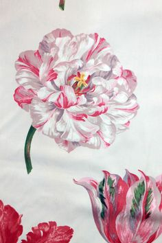 Brunschwig Fils Floral New Amsterdam Tulip Hand Print Upholstery Cotton Fabric Amsterdam Tulips, New Amsterdam, Flower Prints, Flower Art, Textile Patterns, Textiles, Pink Tulips, French Decor, Fabric Wallpaper