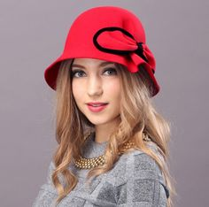 Elegant bow bucket hat for lady fashion bowknot wool winter hats