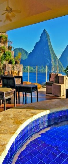 Jade Mountain, built into the hillside on St. Lucia's southwest coast, overlooks the Caribbean Sea.