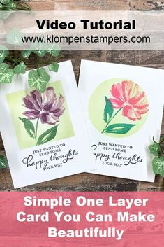 You don't have to have a ton of cardstock or supplies to make a beautiful one layer card. Grab a pre-made card base or a piece of white cardstock, a shaped die, and a couple of ink pads. Head on over to www.klompenstampers.com and I'll teach you how to make this card. Card Making Tips, Card Making Tutorials, Stampin Up Catalog, Stamping Up Cards, Cards For Friends, Ink Pads, Creative Cards, Flower Cards, All You Need Is