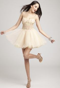 Prom Dresses 2013 - Short Beaded Illusion Waist Dress from Camille La Vie and Group USA