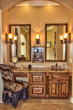 master vanity with his and her sinks and make up vanity space maker