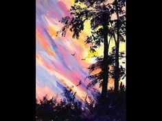 Ginger Cook LIVE Lesson - How to Paint a Silhouette Sunset free step by step tutorial - YouTube