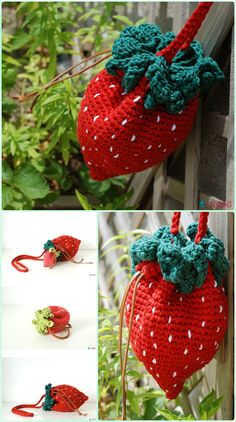 Crochet Strawberry Bag Paid Pattern - Crochet Kids Bags Free Patterns