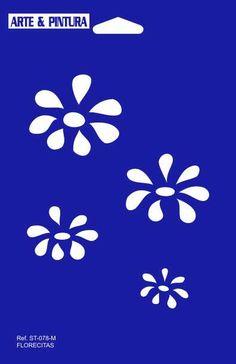 ESTÉNCIL FLORECITAS TAMAÑO 14 X 21 Stencil Patterns, Stencil Designs, Stencils, Paper Collage Art, Silhouette Portrait, Painted Rocks, Icon Design, Screen Printing, Decoupage