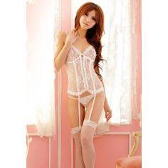 $10.86 Alluring See-Through White Garter Stockings Corset For Women
