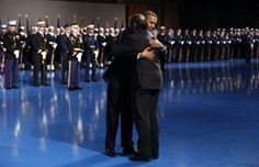 President Barack Obama Hugging Leon Panetta In Armed Force Farwell Ceremony....  02/08/13