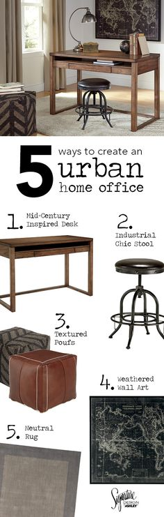 5 Ways to Create an Urban Home Office! Get that perfect urban home office look by mixing dark-colored accessories in a variety of finishes, patterns and textures! Baybrin Home Office - Ashley Furniture - - Weather Art, Ashley Furniture Industries, Mid Century Desk, Office Looks, Industrial Chic, Home Office, Urban, Atrium, 5 Ways