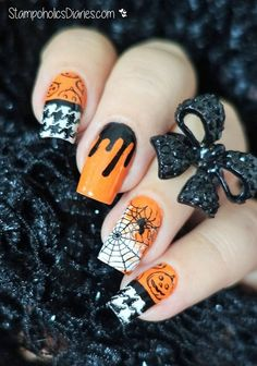 31st october nails, Black and orange nails, Cobweb nails, Creepy nails, Halloween nails, Party nails, Pumpkin nails, Spider nails
