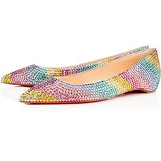 Soft Rainbow Flat Flat Version Rainbow Suede (55,975 MXN) ❤ liked on Polyvore featuring shoes, flats, christian louboutin, suede flat shoes, suede leather shoes, rainbow shoes, rainbow footwear and flat shoes