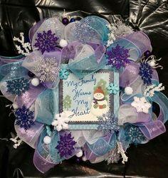Frozen inspired deco mesh christmas wreath
