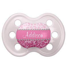 Pink Glitter Rhinestone Leopard BLING Pacifier