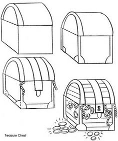 A Simple Drawing of Locked Treasure Chest Coloring Page