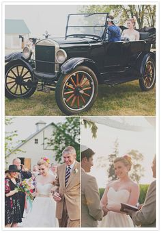 vintage car wedding entrance