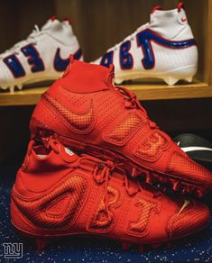 "f80469e06 Odell Beckham Jr Nike Air More Uptempo Inspired Custom Cleats ""NY Giants"""