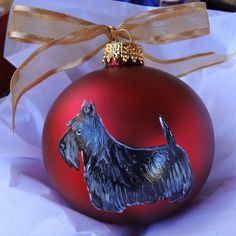 Scottish Terrier Scottie Dog Christmas Ornament Hand Painted in USA with Name 22