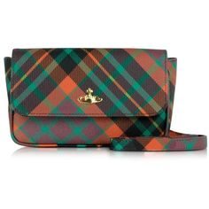 Vivienne Westwood Derby Mac Henry Eco Leather Pouch w/Shoulder Strap ($245) ❤ liked on Polyvore featuring bags, handbags, shoulder bags, green, plaid handbags, shoulder strap bag, shoulder strap handbags, green crossbody purse and green crossbody
