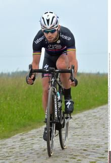 Mark Cavendish (Omega Pharma-Quick Step) in a black version of his national champion kit