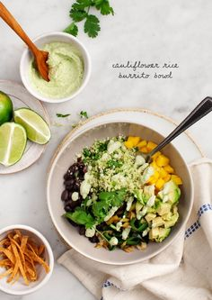 Cauliflower Rice Burrito Bowl - This healthy bowl is packed with poblanos, mango, avocado, and a creamy green chile cashew sauce. Vegan and gluten free.