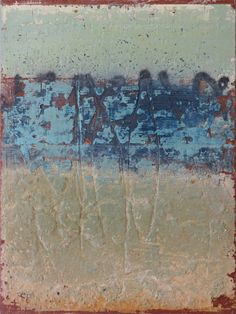 "Terry Craig used marble dust, powdered pigment and spray paint to create the highly textured ""High Water"" #abstract #abstracted #landscape #art #artist #artists #painter #painting #paintings #painters #blue #mixedmedia #red"