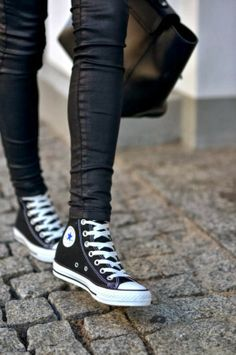 All Star Sneakers With Leather Pants
