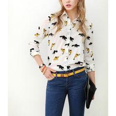 Fox Print Polo Neck Long Sleeve Chiffon Shirt for Women - Blouses & Shirts - Tops - Clothing - Women's Style Free Shipping