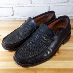 LAVORAZIONE ARTIGIANA Men's Shoes ~ Black Leather Woven Vamp Loafers ~ US 9.5 W #LavorazioneArtigiana #LoafersSlipOns