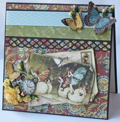 Here's the card you also can recreate with Gloria's sketch shared on this board! Love the butterflies and wonderful flower detail. She mixed collections for this - using Olde Curiosity Shoppe and Once Upon a Springtime! #graphic45 #cards