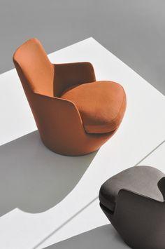 Swivel fabric armchair LO TURN - BENSEN