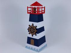 Linda caixinha para decoração no tema marinheiro, no tema Popeye, no tema navy. É uma ótima opção para lembrancinha. Você pode retirar o topo do farol e armazenar doces e guloseimas. Veja mais em nossa página. Visite-nos. =)